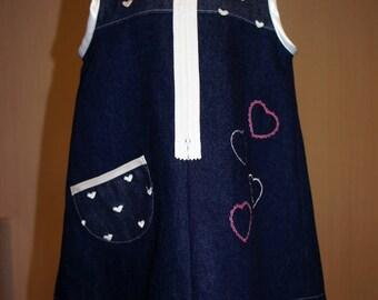 embroidered heart denim pinafore dress