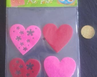 24 Hearts to stick or sew - Pink and red - 40mm