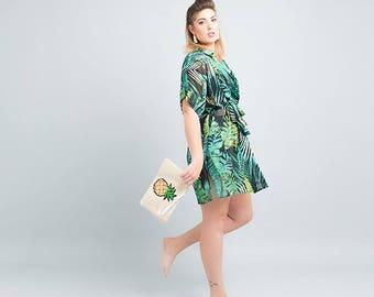 tropical leaves, beach cover up, kimono robe, beach wear, beach dress, tropical robe, bridesmaid robe, greenery, kimono shirt, kimono blouse