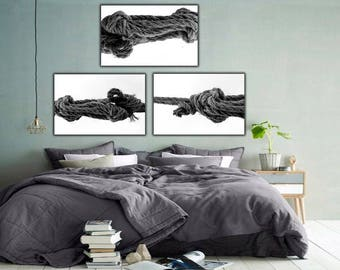 Ropes Photography, Set Of 3, Black And White Photography, Printable Wall Art, Instant Download, Home Decor, Rope Wall Art, Digital Prints