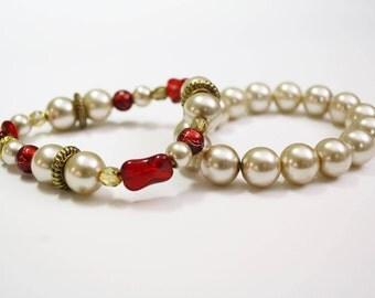 Gold and Red Bracelets- Fall Bracelet Set- Beige Pearls- Stretch Bracelet