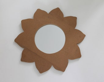Flower blank wooden mirror