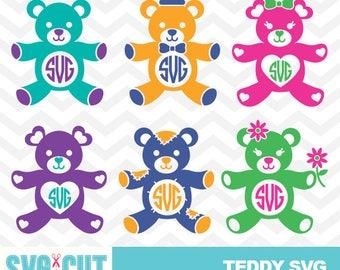 Teddy Bear SVG files, Teddy Bears monogram frames, Teddy Bear Clipart, Cute Bear SVG, Baby Vector Files, Bear Toy Cut Files, svg-003