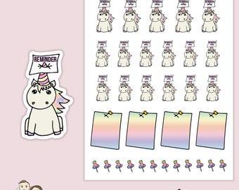 KAWAII UNICORN REMINDER   Planner Stickers    Note   Rainbow   List   Erin Condren       S114