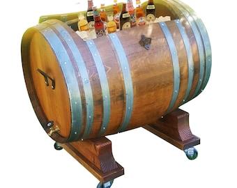 60 Gallon WINE BARREL Ice Chest Rustic Furniture Home Decor Bar Pub Bistro FREE Shipping!