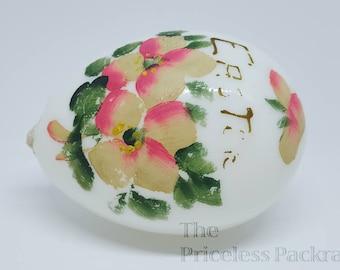 Antique hand blown white glass Easter Egg