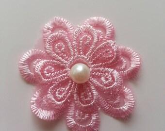 double fleur en dentelle rose  50 mm