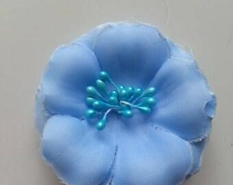 fleur tissu et pistils bleu   60mm