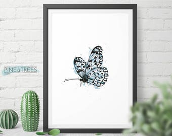 Blue Butterfly, Nursery Animal Wall Art, Modern Poster, Printable Digital Download