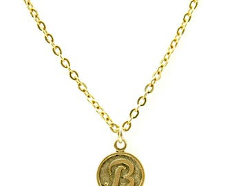 Letter B Necklace | Gold Letter B Necklace | Gold Initial B Necklace | Gold Letter B Pendant Necklace