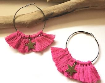 Elegant hoops & pink tassels! Large earrings, tassel pom pom pom pom earrings fancy Bohemian style