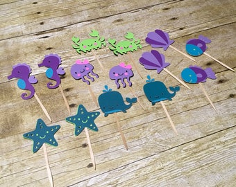 Mermaid Cupcake Toppers, Under The Sea Cupcake Toppers, Sea Life Birthday Cupcake Topper, Sea Critters, 12 pieces