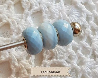 Blue opal charm bead with silver 925 core for european bracelet