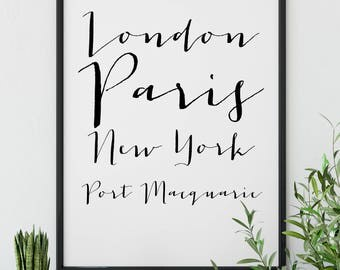 London, Paris, New York, Port Macquarie  ||  A5, A4, A3, A2, Wall Art, Digital Print, Travel, Wanderlust, Destinations, Home Decor