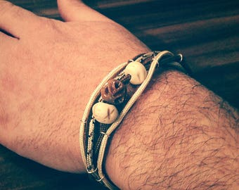 Mens leather bracelet, Paracord, metal and carved natural stone beads