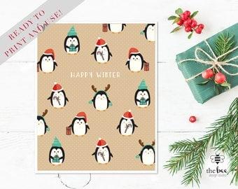 Merry Christmas Penguins Card Printable
