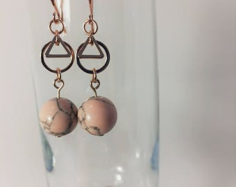 Pink Marble Ball Dangle Earrings, Rose Gold Earrings, Marble Earrings