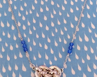 Necklace 925 sterling silver rope pattern and blue Agate
