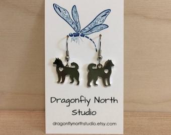 Husky earrings - Siberian Husky earrings - dog breed earrings - dog earrings - antiqued silver earrings