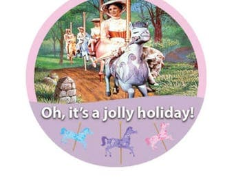 Mary Poppins Button - Jolly Holiday Button - Disney Park Pin - Theme Park Button - Mary Poppins Badge - Disney Trip Button - Lanyard Pin