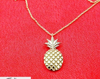 Pineapple Necklace, Gold Plated Pineapple Jewelry, Rose Gold Necklace, Birthday Gift Ideas For Her, Sterling Silver Necklace, Christmas Gift