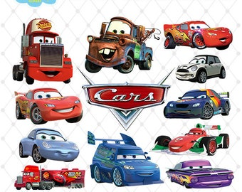 Cars Clipart, PNG Clip Art Files, Cars Printable Images, Digital Download, Scrapbook, Disney Cars Clipart, Transparent Background, Blue-006