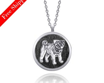 Pug Dog Silver Round Necklace (Black)