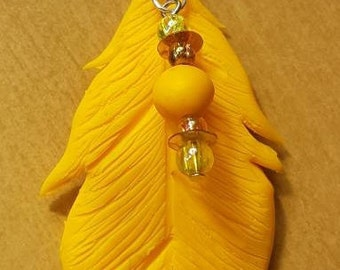Polymer clay pen, yellow, with beads