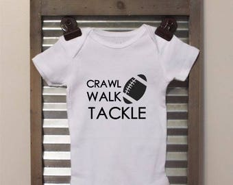 Crawl Walk Tackle Football Baby Bodysuit - Infant Bodysuit - Great for football season!