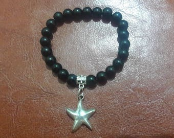 Bracelet black stone / silver plated star