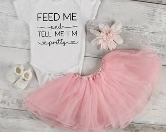 Feed Me and Tell Me I'm Pretty Baby Bodysuit, Baby Girl, Baby Clothes, Baby Gift, Baby Shower, Funny Onesie, Pretty