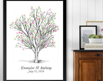 Apple Tree Thumbprint Guestbook Print, Fingerprint Guest Book, Wedding, Bridal Shower, Family Reunion, Alternative (8 x 10- 24 x 36)