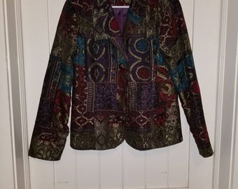 Woven Tapestry Jacket with Metal Buttons