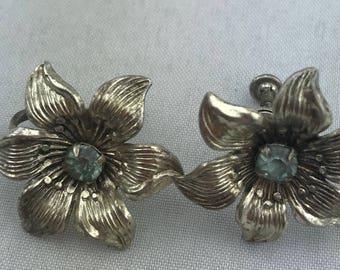 Sterling Silver Flower w Aquamarine Stone Clip On Earrings