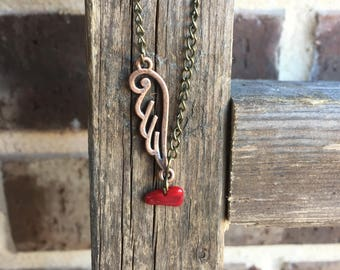 Antique Bronze Wing Necklace with Red Coral Gem