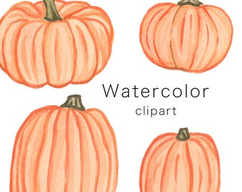 WATERCOLOR CLIPART, pumpkin clipart, halloween clipart, watercolour, clip art, halloween clipart, fall clipart, autumn clipart, png download