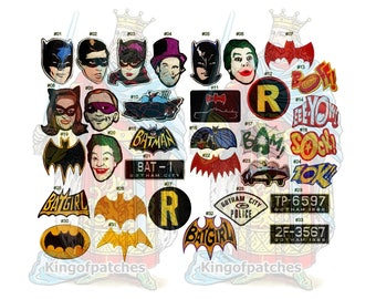 Batman TV Series Embroidered Patches Adam West Joker Penguin The Riddler Robin Batgirl Batsign Catwoman Replica Suit Logo Batmobile 1966
