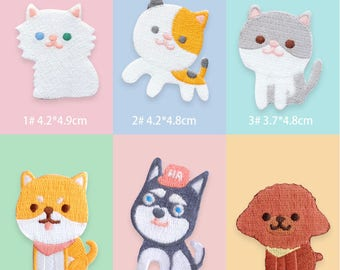Cute Cat patch Cute Dog Patch Cartoon Animal Patch Iron on Patch Sew On Patches
