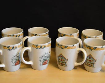 "Set of 8 Thomson Pottery Birdhouse Mugs, 10 oz, Vines Flowers Birds Garden Hearts, 4"" size"