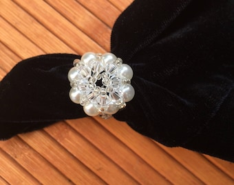 Ring with Swarovski pearls and beads
