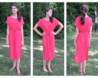 Modest Red Knit Dress with Drawstring Waist