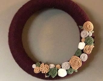 Fall burgundy wreath with flowers