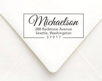 Personalized Modern Calligraphy Address Stamp, Custom Return Address Stamp, Self Inking Address Stamp