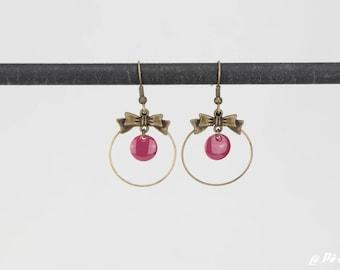 Knot ring #1155 purple earrings
