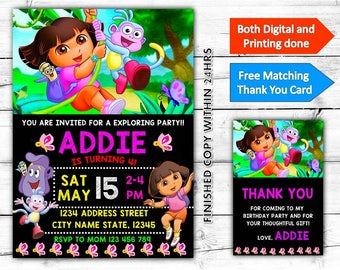 Dora the Explorer Birthday Printable Invitation Plus Free Thank You Card-Both Digital and Printing done