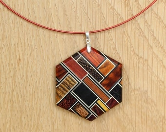 """Hexagon"" pendant - wood jewelry"
