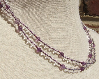 Crystal-Amethyst Wrap Necklace - Genuine Crystal Quartz + Amethyst & Pure Silk Thread