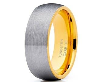 Gray Tungsten Wedding Band Yellow Gold Tungsten Ring Anniversary Tungsten Band Men & Women Brush Tungsten Band