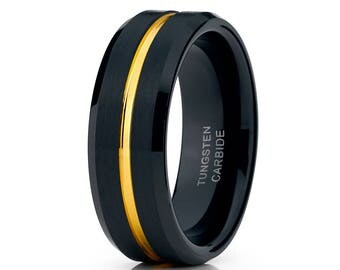 Black Tungsten Wedding Band Yellow Gold Tungsten Wedding  Band Men & Women Tungsten Ring Black Tungsten Wedding Ring