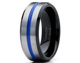 Blue Tungsten Wedding Band Grey Tungsten Ring Men & Women Black Tungsten Ring Anniversary Band Comfort Fit Blue Tungsten